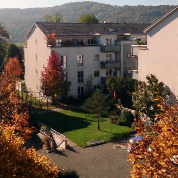 Aussicht auf der Terrasse der Pflegewohnung Weitblick in Winterthur